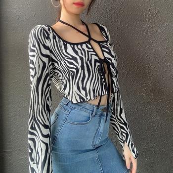 DOSSNI T-shirt Women Autumn Zebra Print T-Shirt Srtiped Unique Crop Tops Long Sleeve Round Neck Sexy Streetwear Harajuke - discount item  35% OFF Tops & Tees