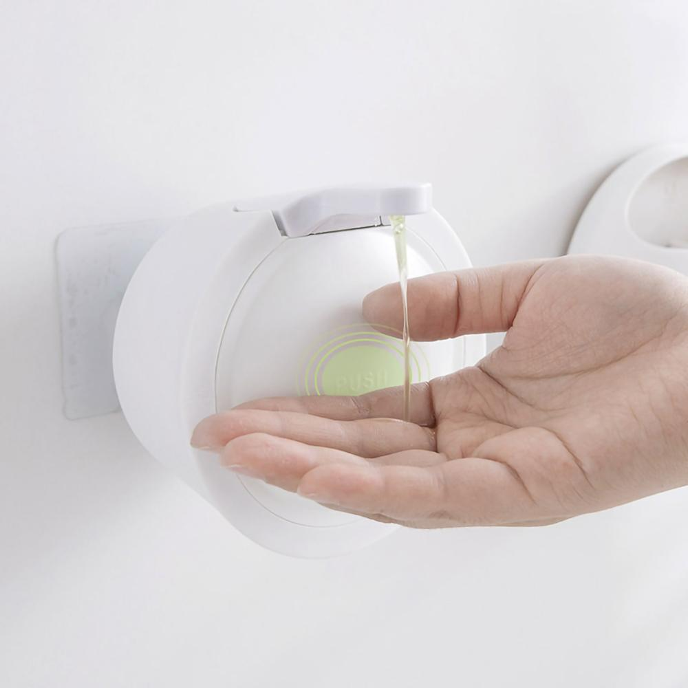 Small Liquid Soap Dispenser Wall Mounted Free Punching Plastic Sanitizer Shampoo Dispenser For Bathroom Kitchen Hotel 350ml