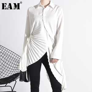 [EAM] Women White Pleated Asymmetrical Long Blouse New Lapel Long Sleeve Loose Fit Shirt Fashion Tide Spring Autumn 2020 1N88000