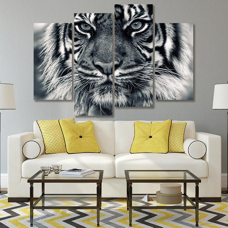 4PCS Printing Ferocious Tiger Wall Art Painting King of The Jungle Poster Home Decoration Black and White Picture Without Frame