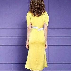 Image 2 - Senhora do escritório vestido longo 2019 nova qualidade Superior As Mulheres sexy Com Decote Em V Vestido de Festa s xxxl verão Vintage vestidos de Celebridades amarelo