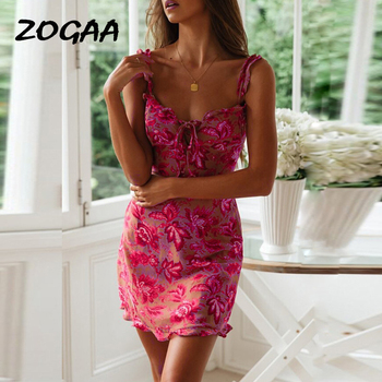 ZOGAA Flower Print Sleeveless Women Dress Summer 2019 Vintage Backless Sexy Mini Dresses Vesidos Night Club Party