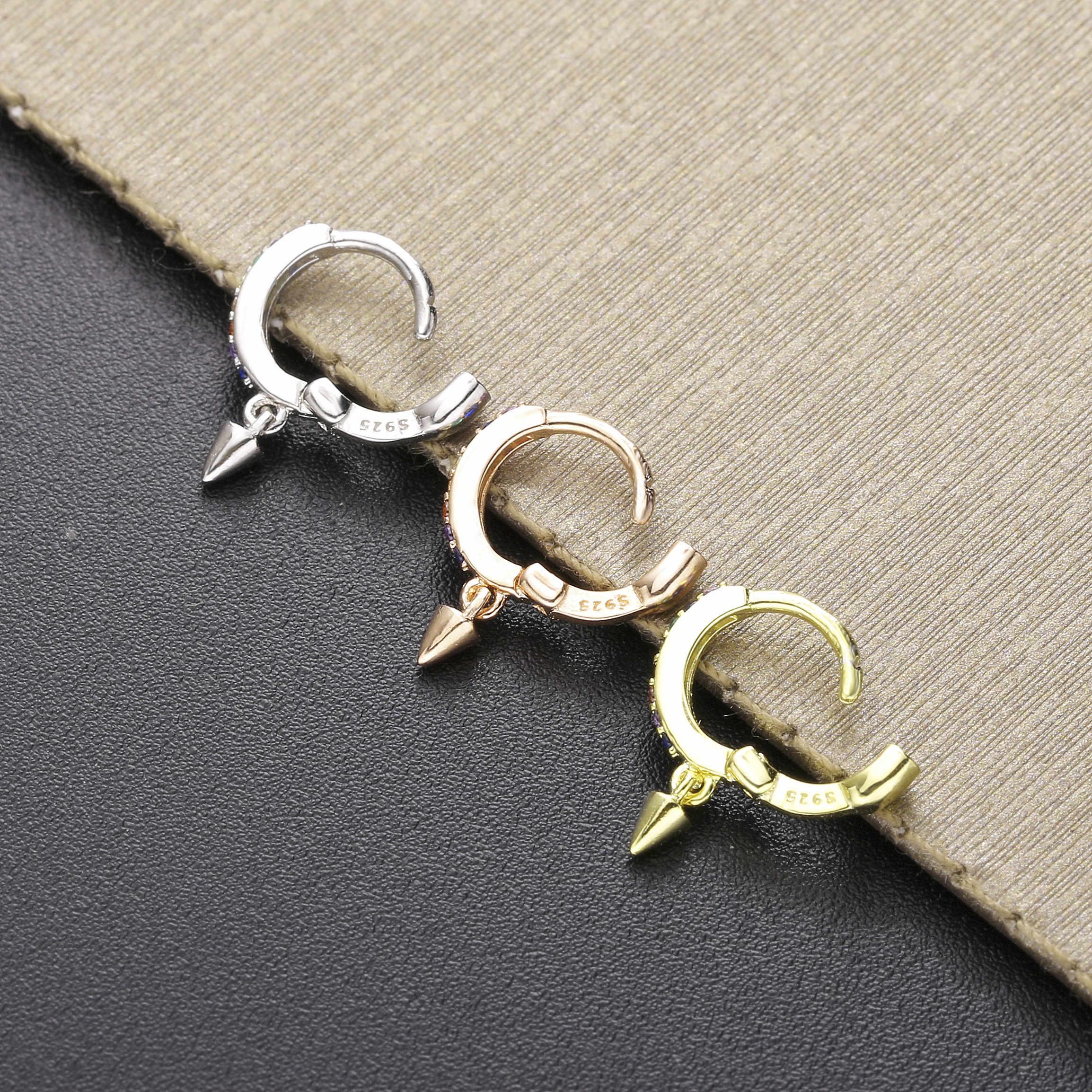 Slovecabin 925 Sterling Perak Mini Hoops Peluru Warna-warni Pelangi Huggie Lingkaran Loop Telinga Bulat Wanita CZ Crystal Anting-Anting Perhiasan