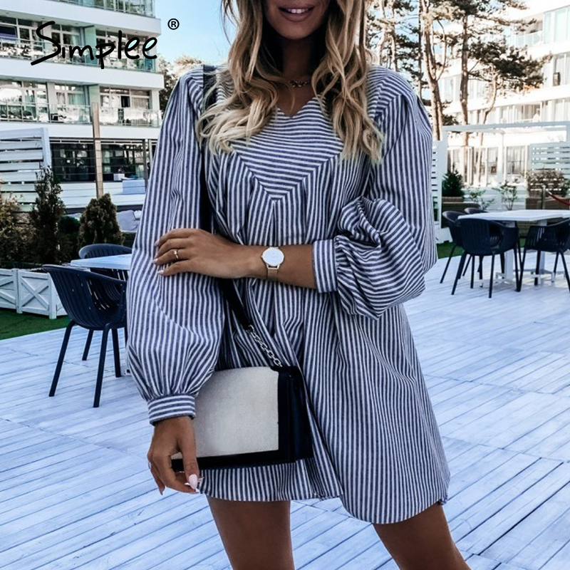 Simplee Elegant loose women's dress Flared Sleeve black white Striped fashion dress A-line party holiday casual dress autumn