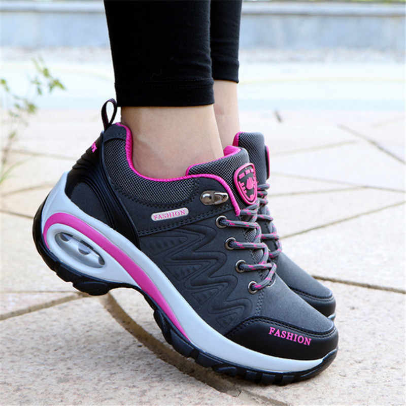 Ayakkabı kadın açık rahat ayakkabılar deri süet marka moda ayakkabılar kadın açık kaymaz hava sönümleme tenis feminino rahat