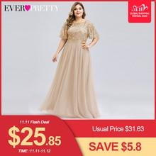 Plus Size Sequined Evening Dresses Long Ever Pretty A Line O Neck Tulle Elegant Formal Evening Gowns Vestido Noche Elegante 2020
