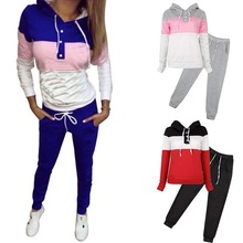 Running Set Women Plus Size Sweater And Sweatpants S-4XL 2 Piece Set Patchwork Hooded Female Gym Fitness Jogging Set Sportswear 2018 new high grade plus fat to increase size running set spring and autumn sportswear large size men s suits outdoor fitness sp