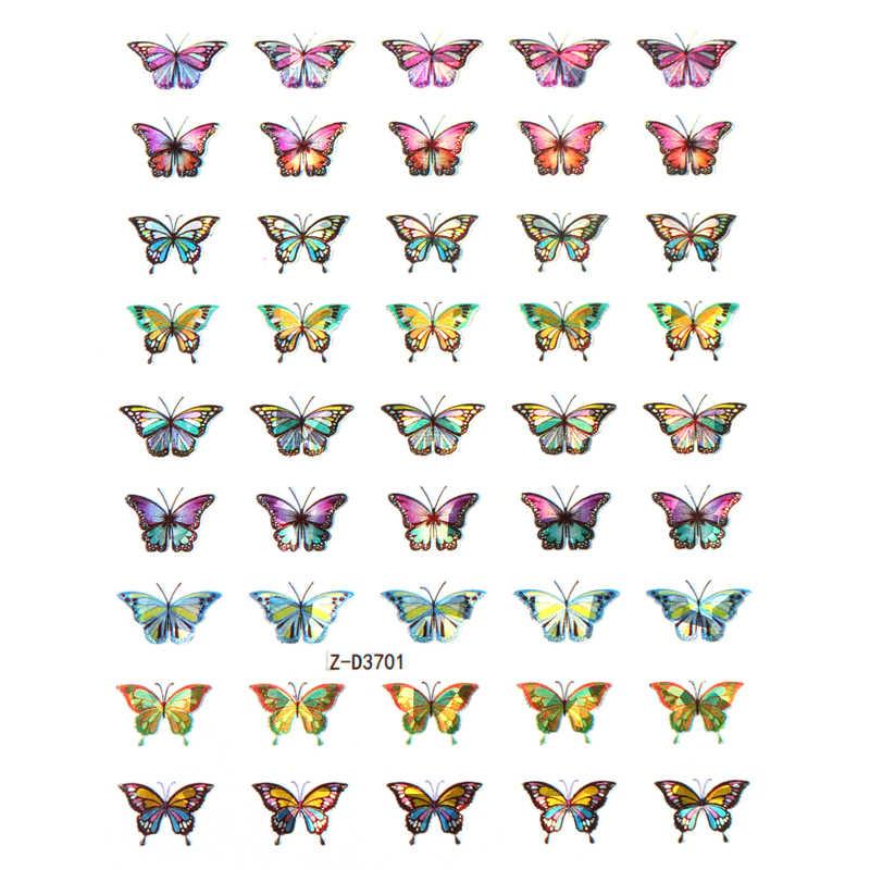 Holografik kelebek tasarımları etiket tırnak çıkartması DIY kaymak manikür tırnak sanat filigran manikür dekor