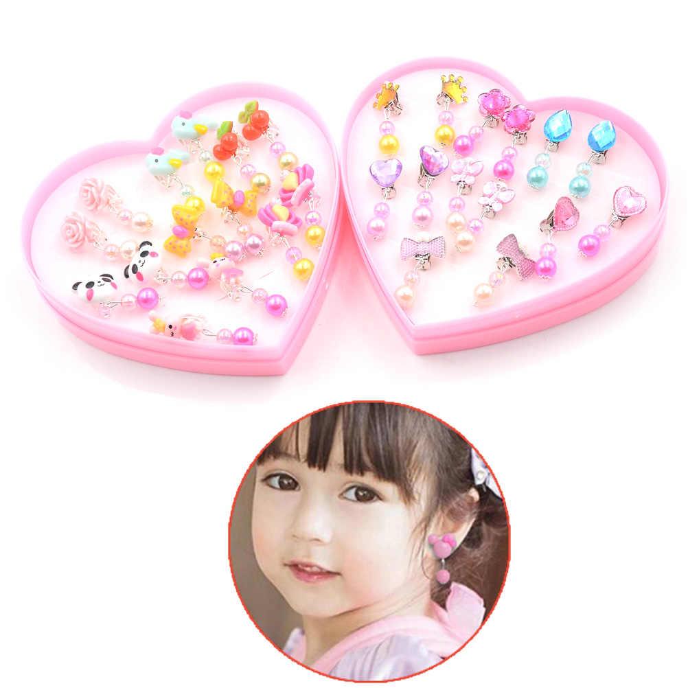 1 Kotak Kartun Kt Merah Muda Anting-Anting Fashion 7 Pasang Anak Hewan Telinga Klip Pada Tindik Anak-anak Lucu Perhiasan Bayi gadis Anting-Anting