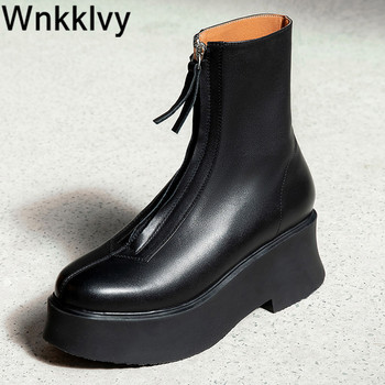 Women platform wedge heel Martin boots autumn winter ankle round toe short botas front zipper 2020 runway design shoes - discount item  32% OFF Women's Shoes