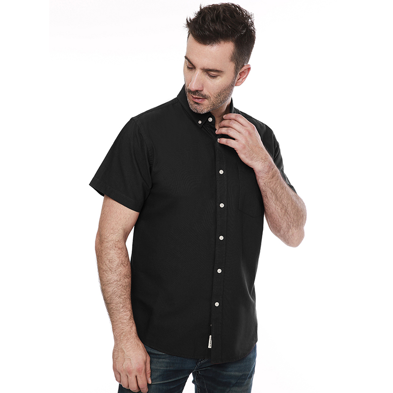 Men's Oxford 100 Cotton Short Sleeve Button Down Casual Comfort Solid Color Dress Shirts For Men