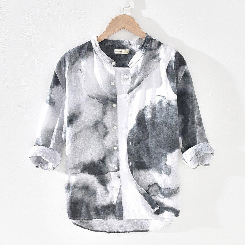 Men Summer Fashion China Style Vintage Stand Collar Splash Ink Printed 100% Linen Three Quarter Sleeve Shirts Male Casual Shirts