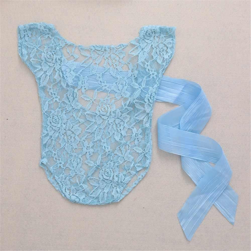 Pasgeboren Baby Girl Lace Zijde Boog Terug Romper Jumpsuit Fotografie Prop Outfit Nieuwe Baby Kostuum Babe Kleding