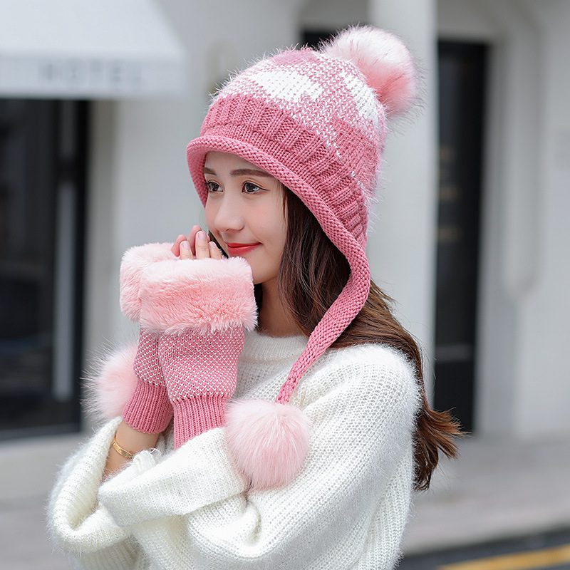 Women Fur Hat And Glove Set For Women Plaid Winter Classic Thicken Wool Kitted Hats And Gloves Winter Warm Bonnet Beanie Caps