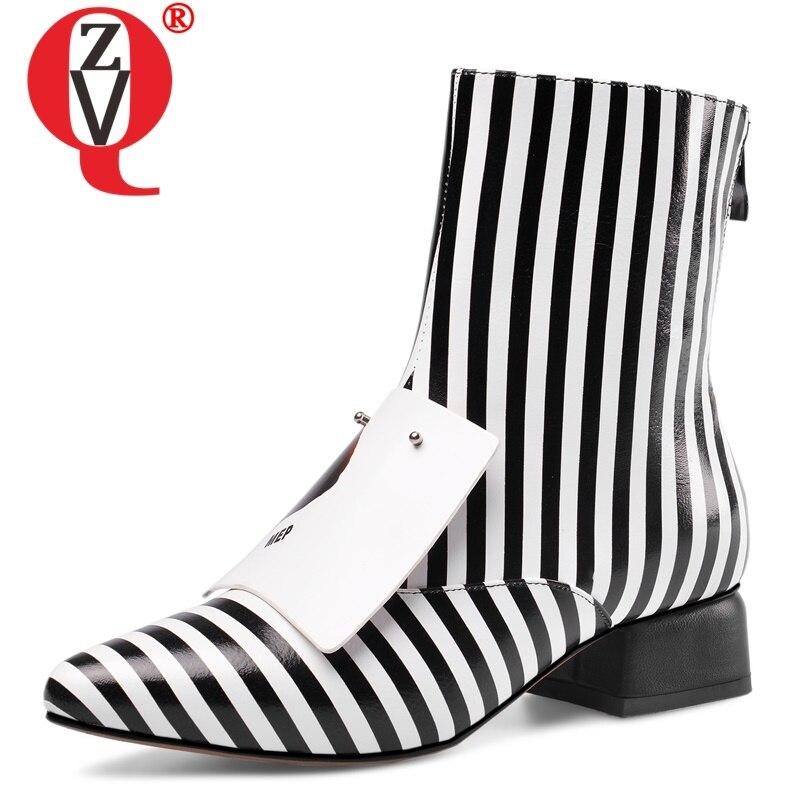 Zvq 여성 신발 겨울 새로운 패션 지적 발가락 정품 가죽 발목 부츠 야외 따뜻한 중반 발 뒤꿈치 플러스 크기 신발 드롭 배송-에서앵클 부츠부터 신발 의  그룹 1