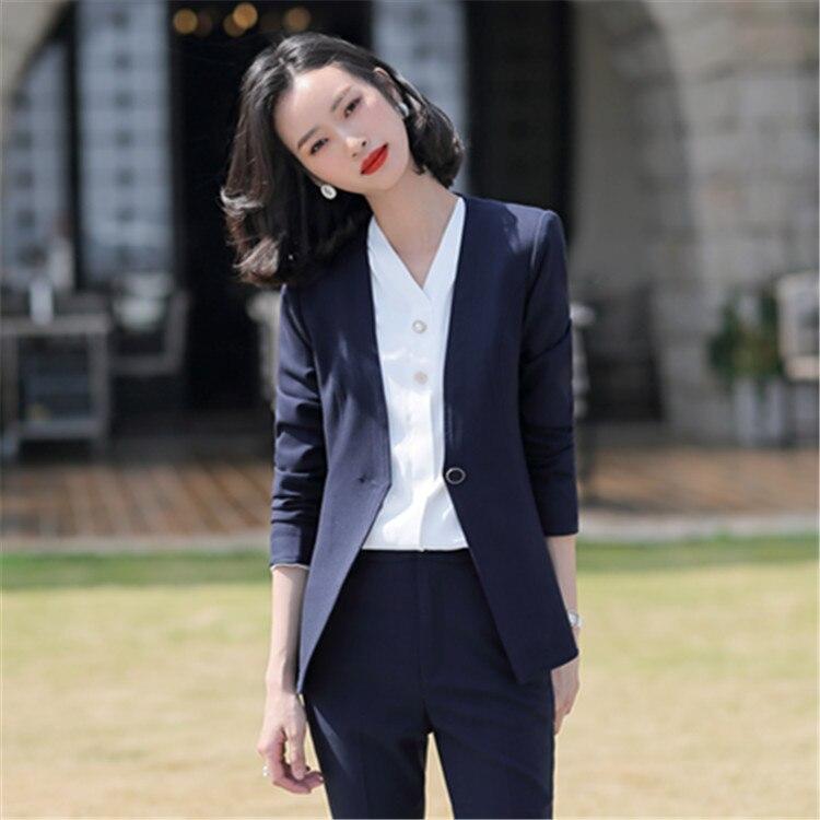 Red Female Office Work Formal Long Pant Suits Women's Suit Business Lady Uniform OL 2 Piece Set Blazer Trouser Jacket  Plus Size