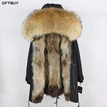 2020 معطف الفرو الحقيقي سترة الشتاء النساء سترة طويلة مقاوم للماء كبير الطبيعية الراكون الفراء طوق هود سميكة الدافئة ريال فوكس الفراء بطانة