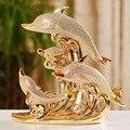 В европейском стиле «животное» из смолы украшения золотой статуэтки дельфинов ремесел дома гостиной стола мебель/офисная обувь, аксессуар...