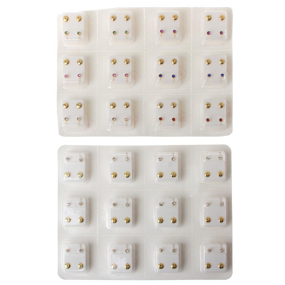 12 пар золотых сережек для пирсинга, набор гипоаллергенных мини-сережек 3 мм с фианитами, ювелирное изделие