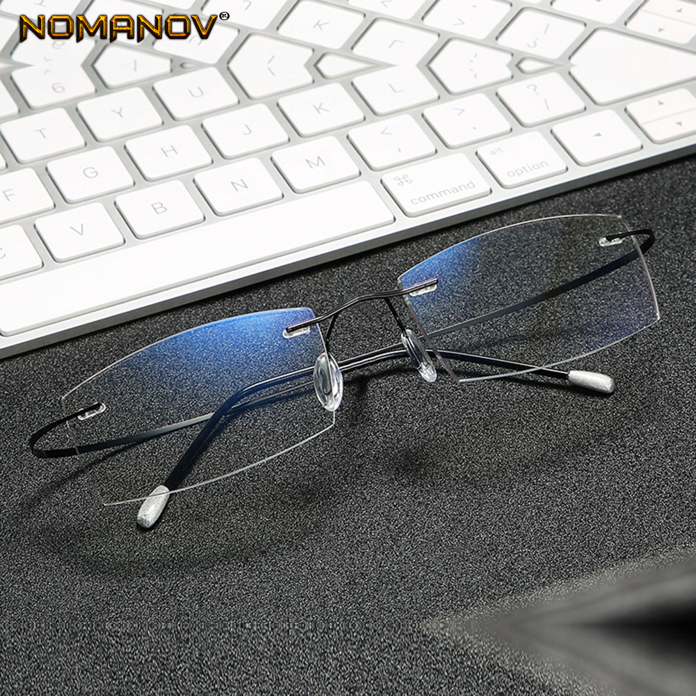 Titanium Frame Ultra Light Memory Super Stretch Temple Anti-blu Light Rimless Reading <font><b>Glasses</b></font> 0.75 <font><b>1</b></font> <font><b>1</b></font>.<font><b>5</b></font> <font><b>1</b></font>.75 2 2.25 To 4 image