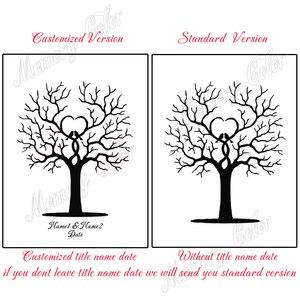 Image 3 - Özel Isimleri Tarih Düğün Ziyaretçi Defteri Parmak Izi Işareti Düğün Dekorasyon Parmak Izi DIY Ağacı (1 2 takım için mürekkep pedi Dahil)