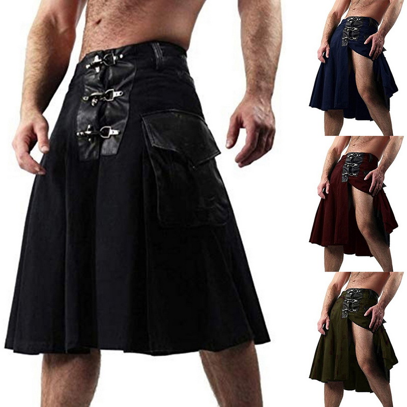 PUIMENTIUA 2019 Scottish Men Solid Classic Retro Traditional Sexy Medieval Cargo Personality Scottish Kilts Check Pattern Skirts