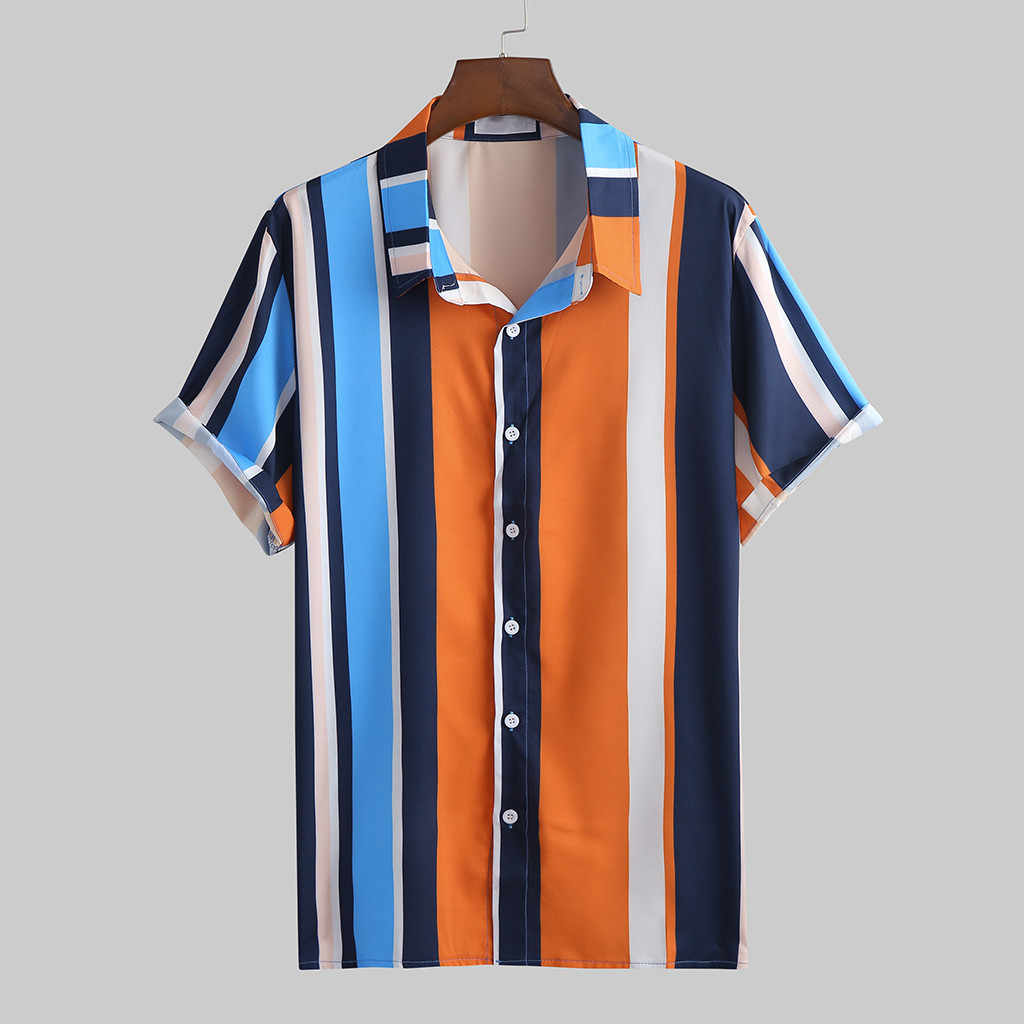 2020 Zomer Mode Heren Button Shirt Slim Fit Korte Mouw Streep Overhemd Mannen Kleding Trend Mannen Casual Hawaiian Shirts Plus size