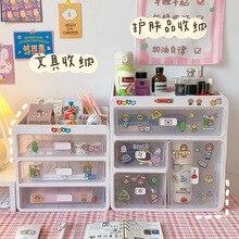Kawaii Large Capacity Transparent Drawer Type Desktop Organizer Desk Storage Box Pen Holder School Office Stationery канцелярия