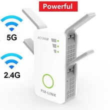 Gaming Dual Band 2.4G / 5G WiFi Repeater WPS Encryption Signal Booster Wireless AC 1200Mbps Extender Router 4 Antennas Amplifier