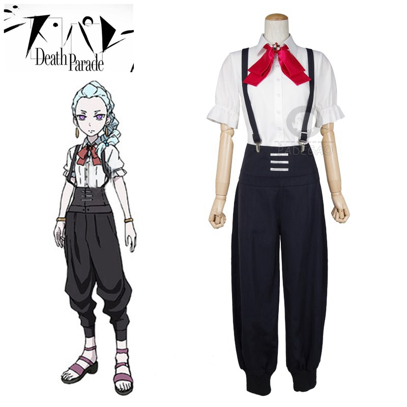 Death Parade Death Billiards Nona Cosplay Costumes Shirt Pants Full Sets Halloween Party Suits School Uniform For Girls Boys