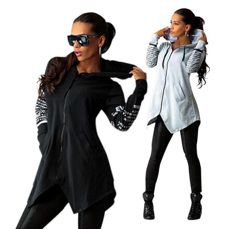 Autumn Long Sweatshirt Coat Women Fashion Hoodies Casual Zipper Jacket