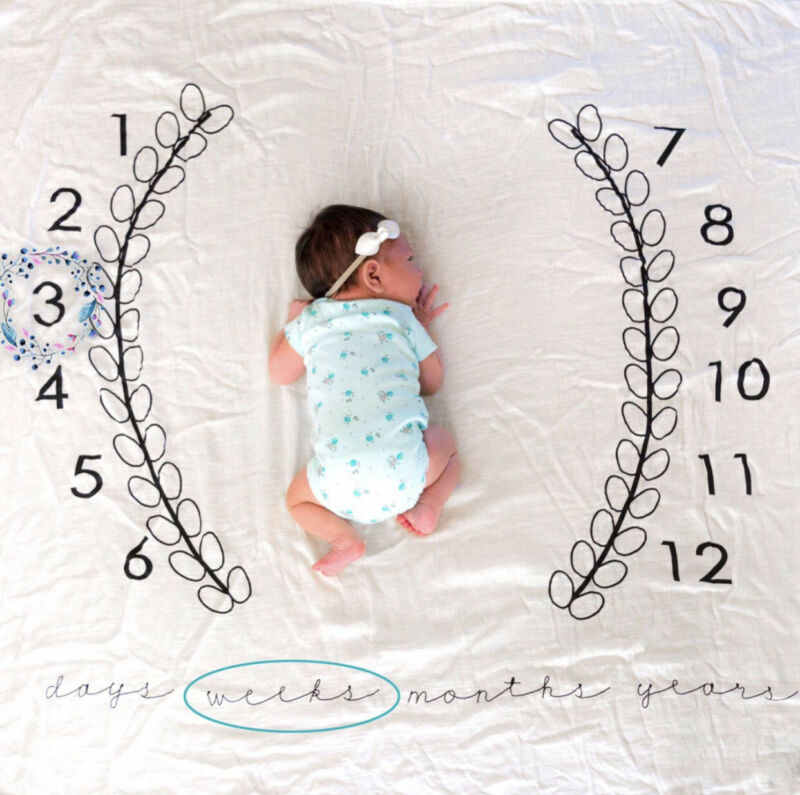 Pudcoco New Baby Fashion Newborn Baby Infants Milestone Blanket Mat Photography Prop Monthly Growth Photo