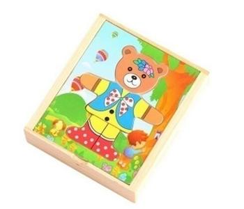 Wooden Baby Bear Animal Children Puzzle Jigsaw Puzzle Building Block ACR Y4UD image