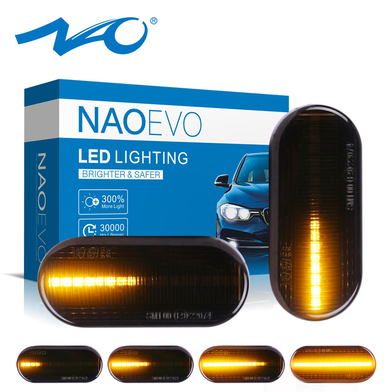 NAO T10 Car Side Marker Light Dynamic W5W LED Auto Turn Signal Lamp For Ford focus MK2 Accessories 12V Indicator Blinker BulbSignal Lamp   -