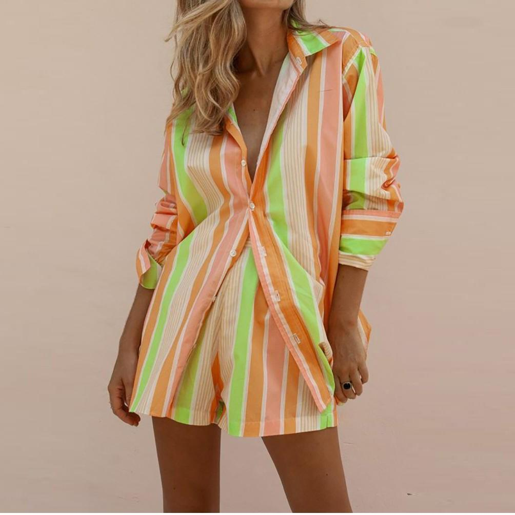 Nice WoMen Striped Long Sleeve Shirt Holiday Beach Suits Two Piece Set Print Shorts