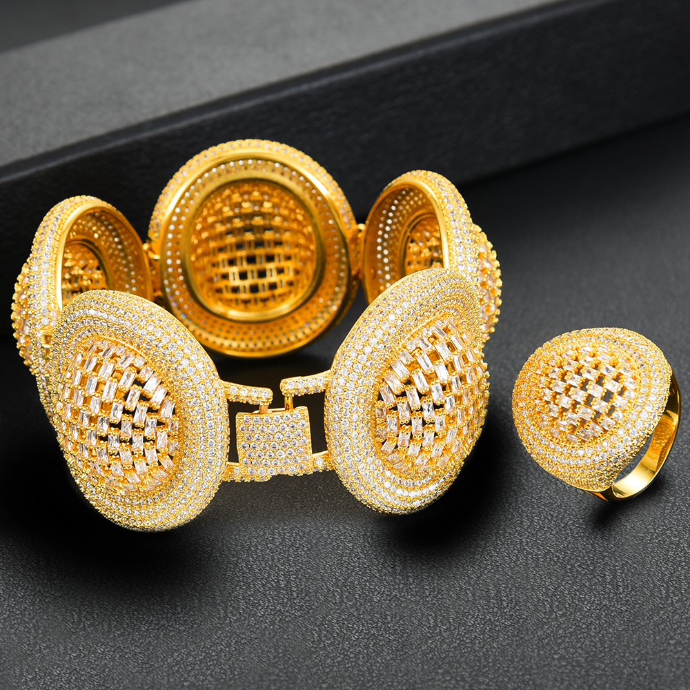 Missvikki 2020 à la mode grand luxe déclaration bracelet anneaux pour les femmes cubique Zircon doigt anneaux perles bague avec breloque bohème bijoux - 2