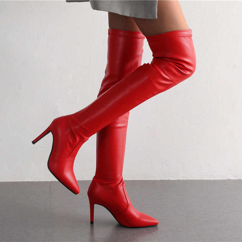 US4.5-10 Womens Suede Pointed Toe High Heels Platform Ankle Riding Boots Shoes A