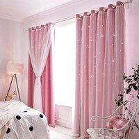 Cortina + pantalla para ventana, cortinas opacas de imitación de lino con estrella hueca moderna, cortinas para sala de estar ventana con cortinas de dormitorio