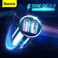 Baseusすべての金属クイック充電USB車の充電器のためにiPhone小米科技華為QC4.0 QC3.0オートタイプC PD速い車の携帯電話の充電器