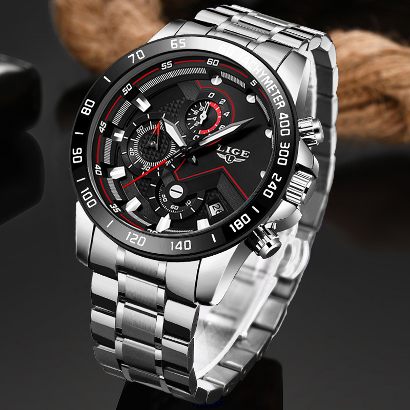 2020 LIGE New Sport Mens Watches Top Brand Luxury Clock Stainless Steel Waterproof Military Chronograph Quartz Watch Men Relojes
