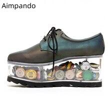 Новинка года; прозрачные туфли на высоком каблуке; женская повседневная обувь из натуральной кожи на толстой платформе с круглым носком и перекрестной шнуровкой
