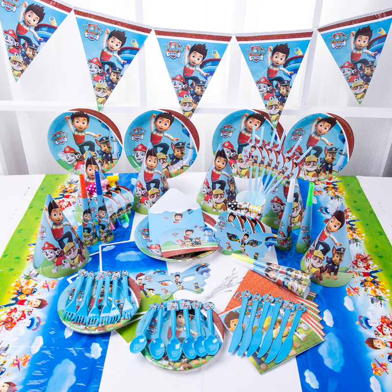New Paw Patrol Design Boys Kids Birthday Party Decorations Balloon Paper Cups Plates Baby Shower Disposable Tableware Supplies