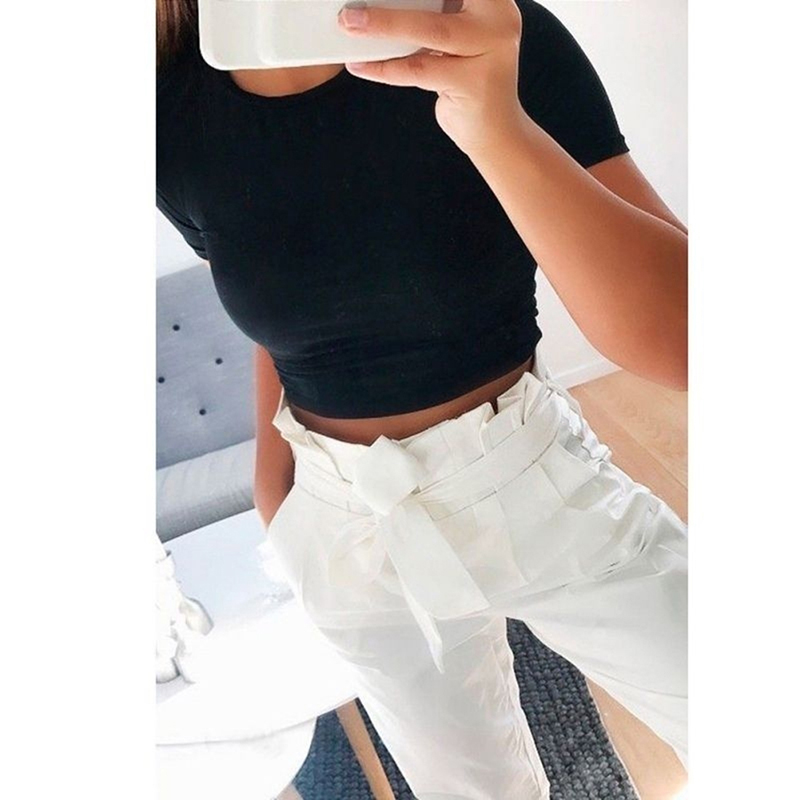 2019 Summer Women Fashion Crop Top Shirt Solid Color O-Neck Short Sleeve T-shirt Women Casual Tees