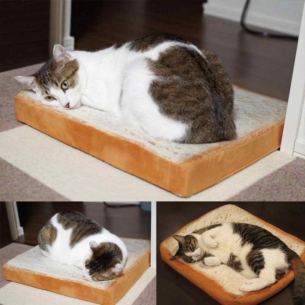 Tostar pan gato almohada perro mascota suave esponja cojín estera pan en forma de gato perro sueño juego cama almohadilla