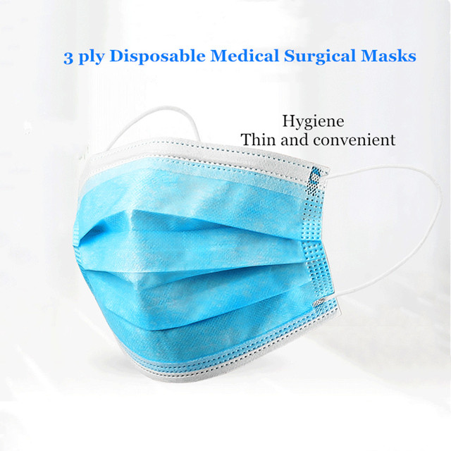 60 Pcs Profession Anti-Bacterial Surgical Face Masks 3 Ply Elastic Ear-Loop Prevent Flu Protect Nose Mouth Masks Dust-Proof 1