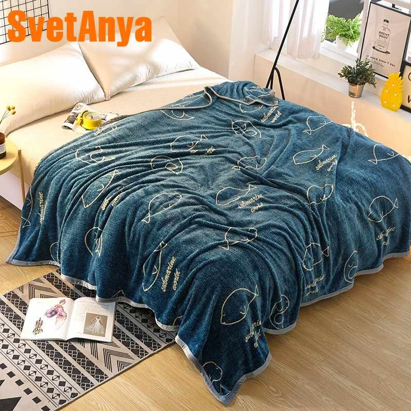 2018 Fish Green Blue Print Blanket Soft Throw Plaids Microfiber Coral Fleece Fabric Twin Full Queen Size Sheet Mat