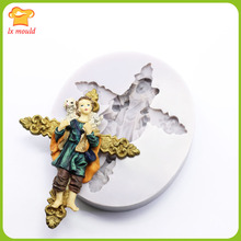 Christian Love Cross Jesus Lamb Religious Polymer Clay Silicone Cake Mold Brooch