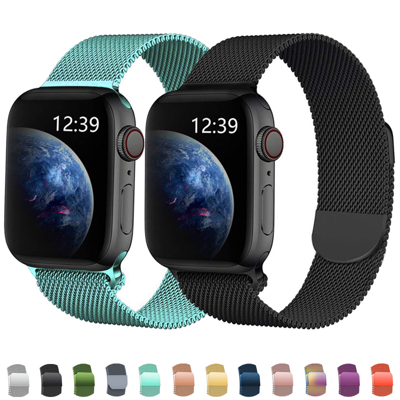 Stainless Steel Bracelet For Apple Watch Band 42mm 38mm Apple Watch 4 5 Band 44mm 40mm Milanese Loop Strap For Iwatch 5/4/3/2/1
