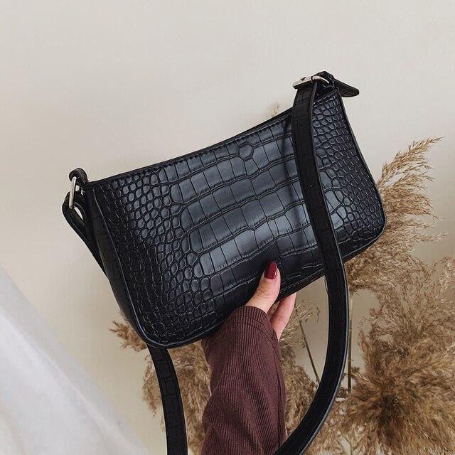 Bolsas mensageiro retro jacaré padrão feminino bolsas de ombro aleta novo couro do plutônio casual sólida crossbody sacos para mulheres bolsas 4