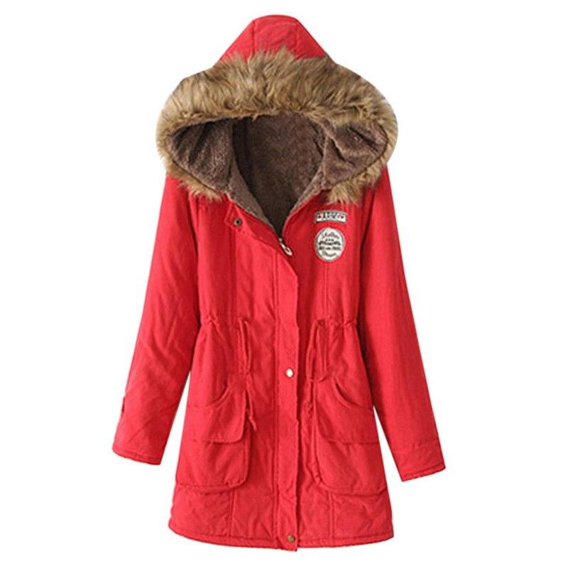 CALOFE 2019 модная женская верхняя одежда с меховым воротником осеннее повседневное длинное пальто женская теплая свободная Зимняя парка с капюшоном Длинная Куртка